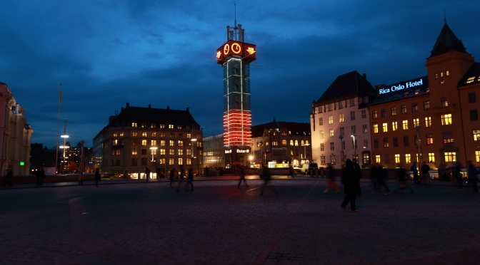 Picture of the day:  Evening in downtown Oslo